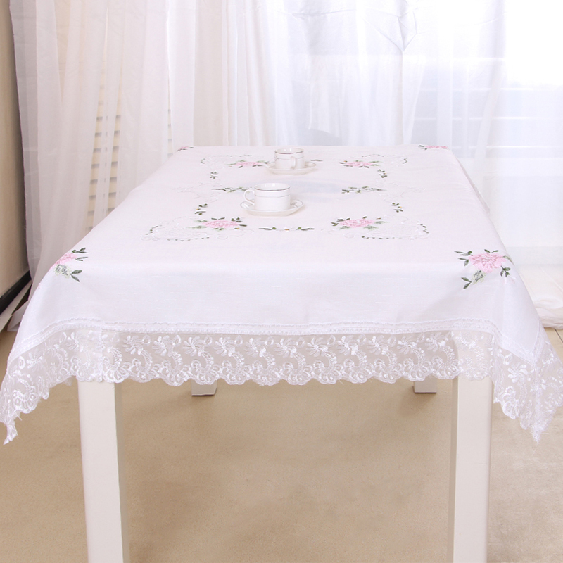 Embroidered Table Cloth Raw Linen White Tablecloth Nylon Lace Tablecover Europe Style Table Cover With 6 Placemats Free Shipping(China (Mainland))