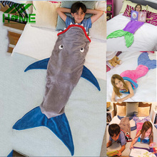 Mermaid Blanket Shark Towel Envelopes for 5-12T Kids Soft Handmade Animal Sleeping Bag Pajamas Overalls Children Quilt Velvet(China (Mainland))