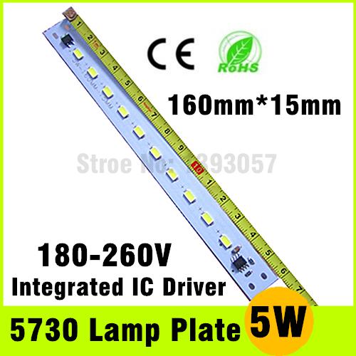 180V-260V LED Tube Plate 5W SMD 5730 Epistar Chip Cold White / Warm White Light Panel PCB Free Shipping(China (Mainland))