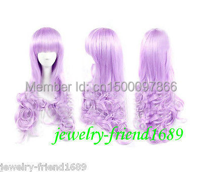 FREE P&P>>>>New Long wig Lavender Purple Neat Bang Curly Wig(China (Mainland))