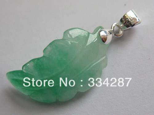 Rare! Free shipping 925 Sterling Silver Hand-carved Irregular Leaf Green Jade Pendant(China (Mainland))