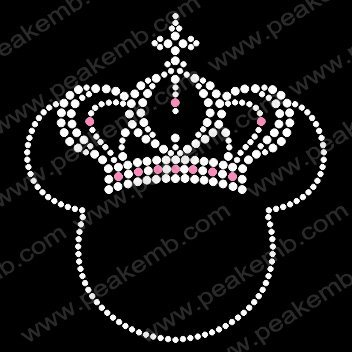 Free Shipping 30pcs/Lot  Custom Design Available Bling Minnie Mouse with Crown  Hotfix Rhinestone Transfers Motif Wholesale
