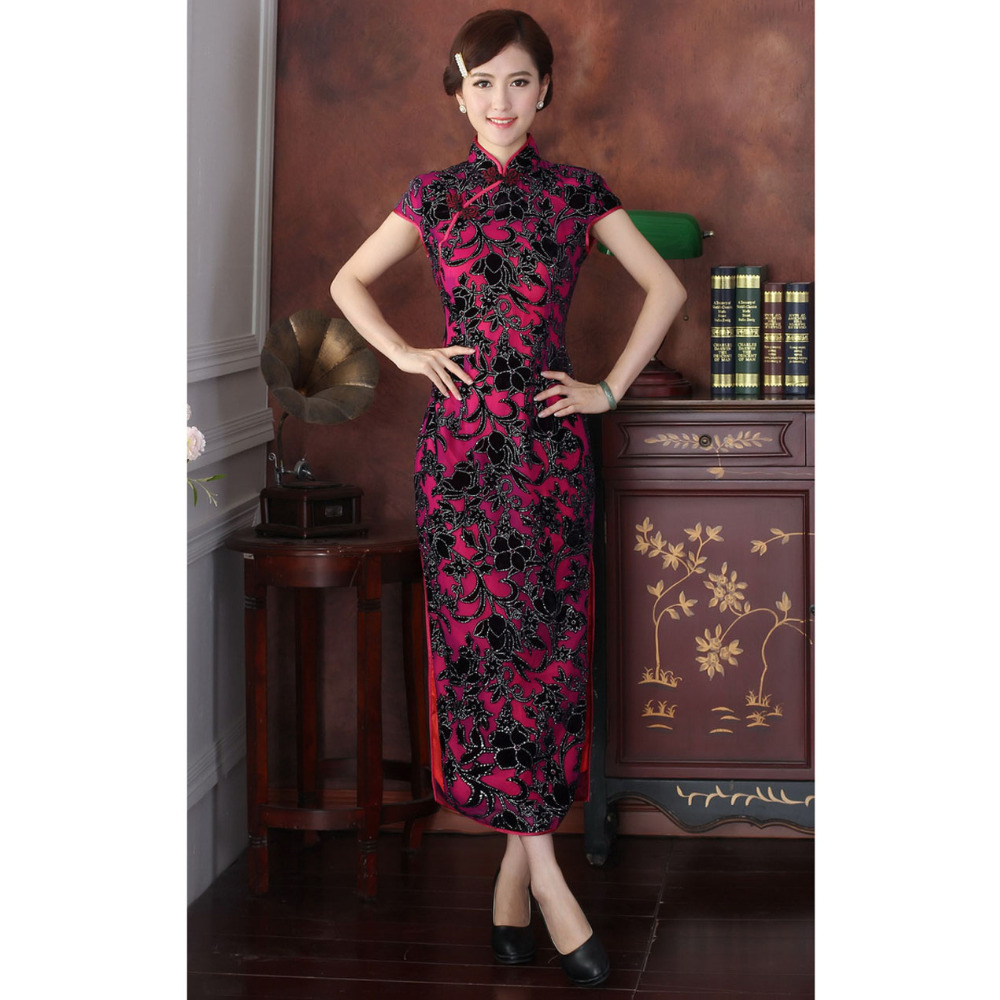 New Arrival Chinese Tradition Womens Mandarin Collar Velour Long Cheong-sam Dress M L XL XXL 3XL 4XLОдежда и ак�е��уары<br><br><br>Aliexpress