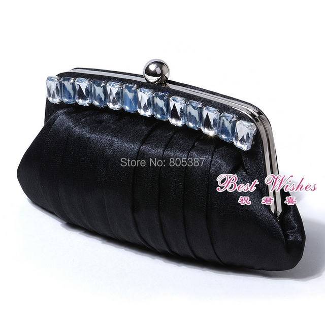 eb8501 shiny satin evening clutch with square Acryl stones applique in size 23*12*2cm for free shipping
