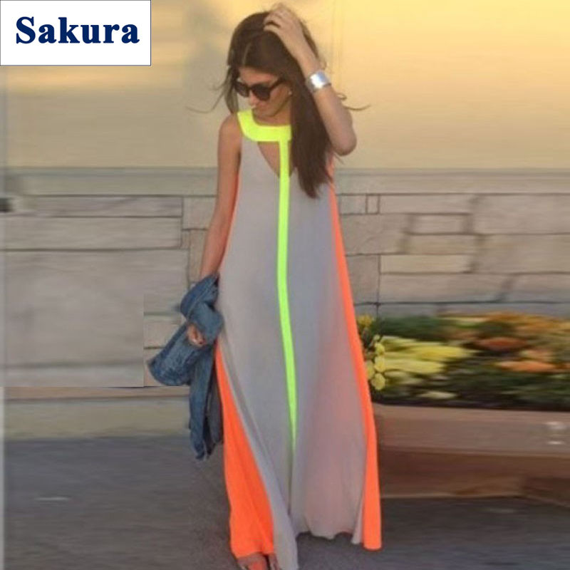 Vestidos Longo 2015 Summer Style Boho Long Patchwork Party Gowns Plus Size Women Clothing High Street Fashion Casual Maxi Dress(China (Mainland))