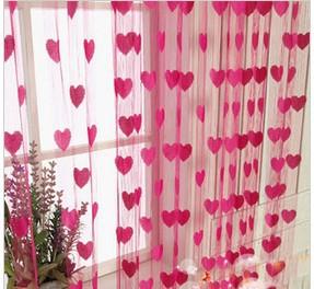 2015 free shipping beauty romantic heart curtain for Cortinas decorativas