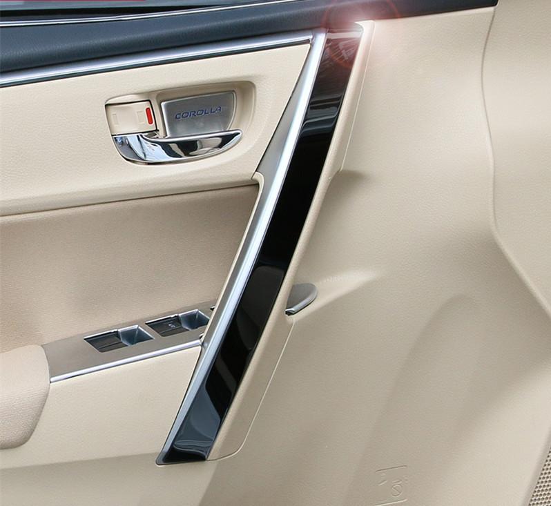 Toyota Corolla 2014 2015 inner door armrest stainless steel door decorative trim cover 4pcs set