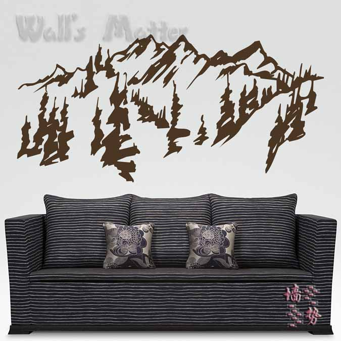 Chinese style Mountains trees wall art decal sticker , removable traditional chinese painting vinyl wall stickers free shipping(China (Mainland))