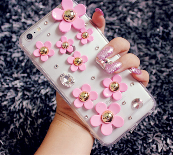 Cute 3d Flower Crystal Bling Diamond Rhinestone Case For iPhone 6/6S 4.7 inch Soft TPU Gel Silicon Cases(China (Mainland))