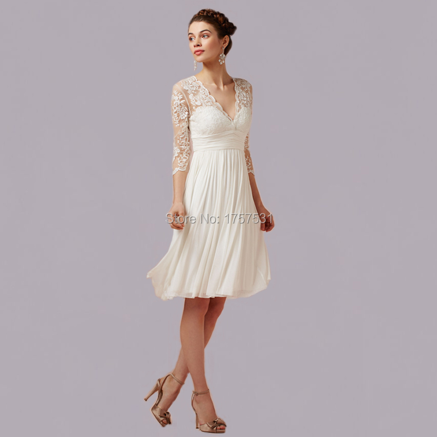 New arrivals v neck three quarter chiffon formal elegant for Short elegant wedding dresses