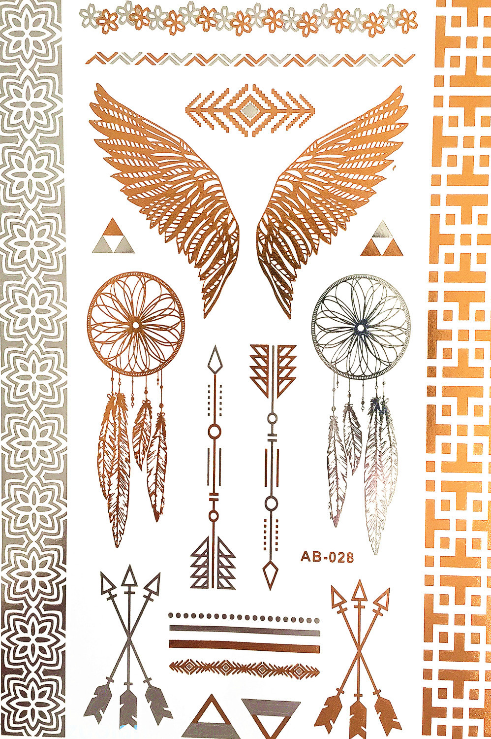 Henna Tattoo Prices : Wing feathers jewelry sticker tattoo metallic tattos