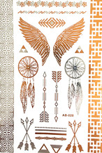 Wing feathers jewelry sticker tattoo metallic tattos golden flash tattoos tattoo large temporary tattoo prices tatoo sticker