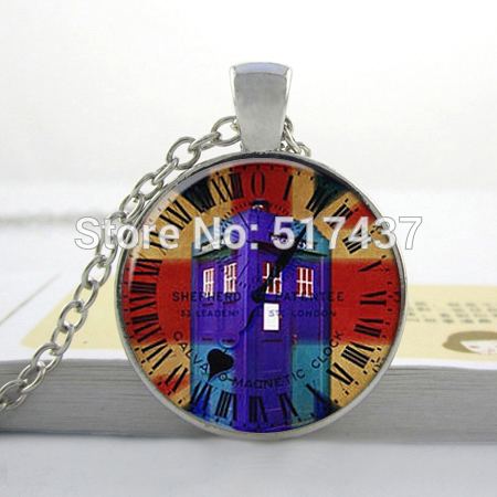 2015 New Hot Glass Dome Jewelry Dr. Who Pendant Dr Who Art Necklace Round Glass Necklace(China (Mainland))