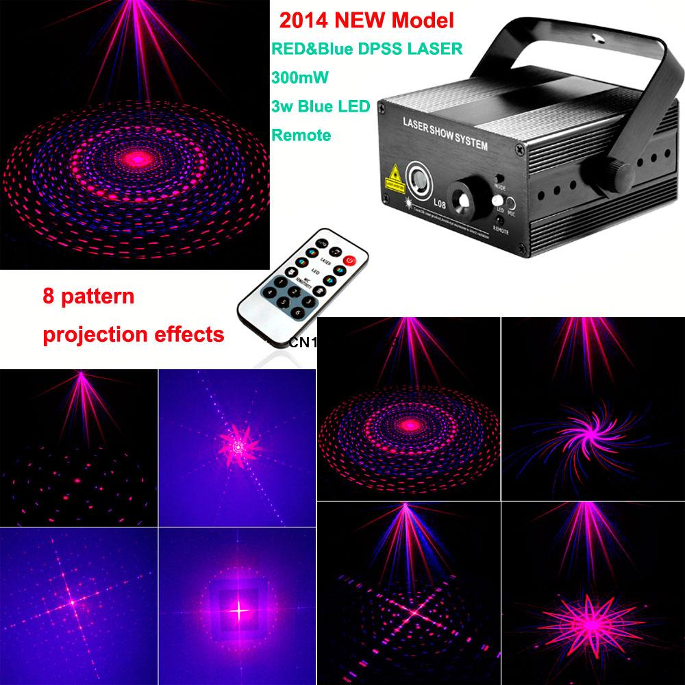 new 2014 version cool red Blue Laser projector 8 pattern blue led Club Party Bar DJ light Disco Dance party Stage Lights B2<br><br>Aliexpress