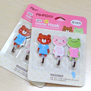 Glue hook with lovely bear style and different color which suitable for kitchen and bathroom decorative wall hooks(China (Mainland))