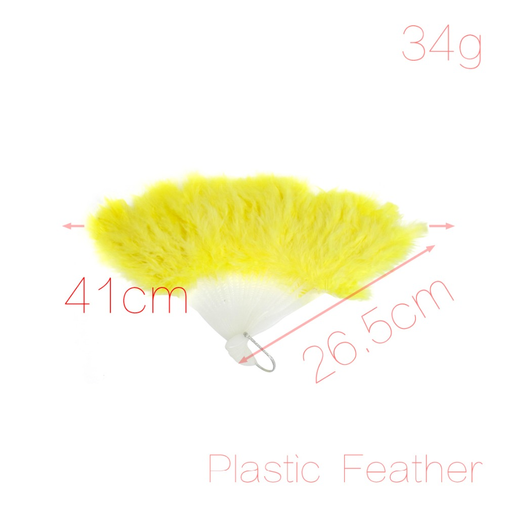 Open Width 41cm Dancing Fluffy Yellow Feather Foldable Hand Fan w White Plastic Staves 26.5cm x 11cm x 4.5cm (L*W*T) Discount 50(China (Mainland))