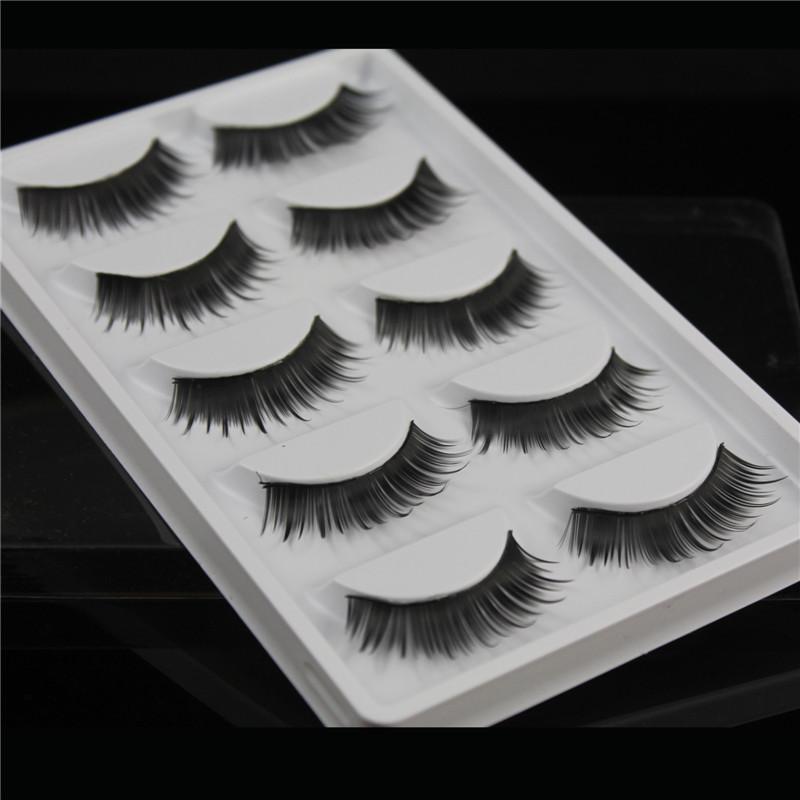 False eyelashes W32 Professional thick fake lashes nude makeup eyelashes extentions 5pairs per pack with model