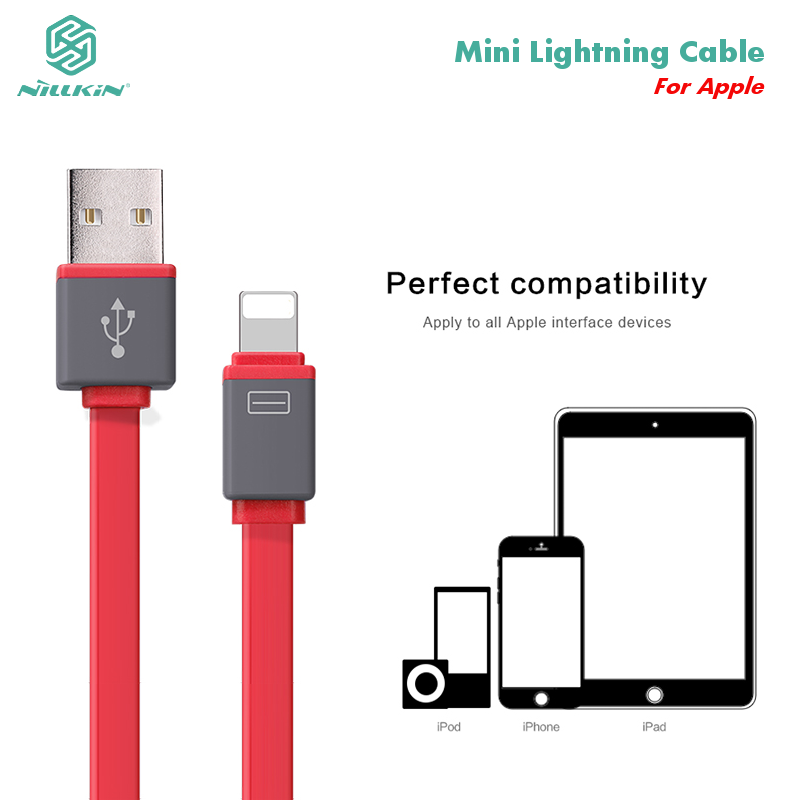 Nillkin USB cable For lightning cable data charger colorful flat cable mini cable for iphone 5s 6 6s plus ipad 30cm