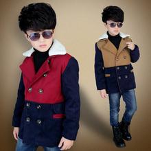 Children's clothing male winter child outerwear 2015 child woolen thickening top child cotton-padded woolen overcoat(China (Mainland))