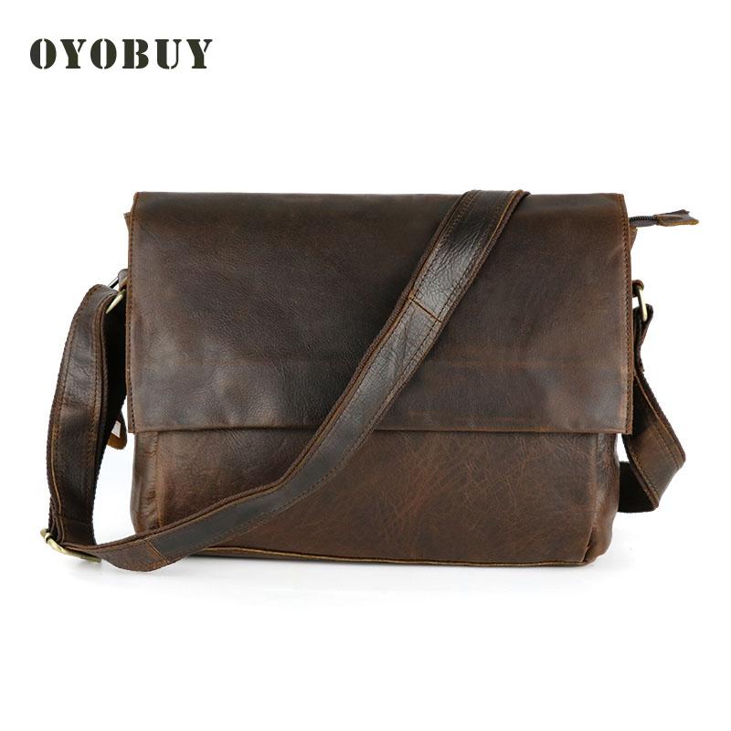 2015 New vintage genuine leather bags Classic design men messenger bag fashion shoulder crossbody bag for man