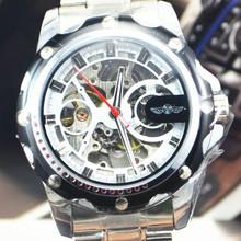 Ganador comercial 2014 la tendencia de la tira de acero reloj mecánico automático reloj para hombre del recorte jwh060
