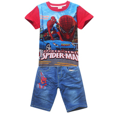 Buy Summer Children Cotton Boys Clothing Sets Baby Boys Spiderman Clothes Sets Kids T-shirt + Denim Shorts 2Pcs Casual Sport Suits for $10.79 in AliExpress store