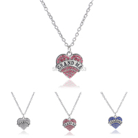 3 Colors 2015 New Arrival Full Crystal Rhinestone Grandma Necklace Mother's Day Pendant Jewelry  I Love You Grandma Necklace