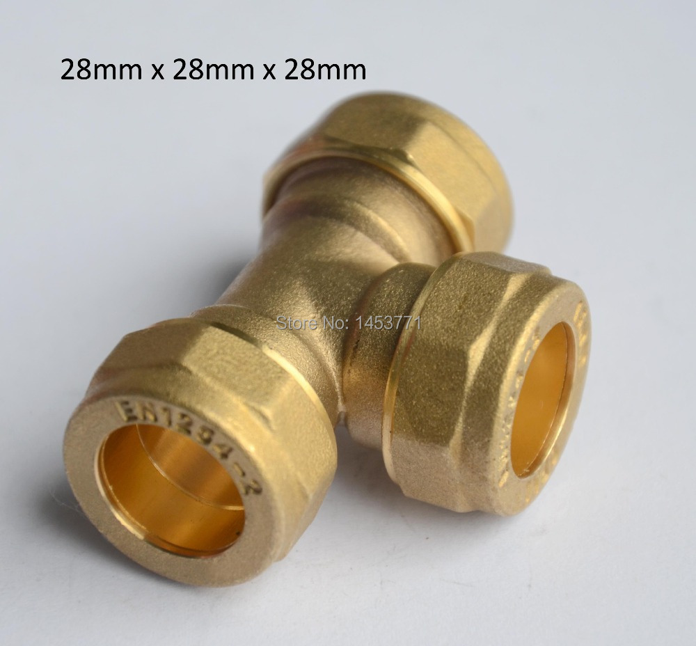28mm Equal Tee hexagonal brass Compression fittings connect Copper tube for Water Manufacture Customized CW617N Plumping(China (Mainland))