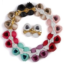 Newest Styles Baby Soft Tassel Moccasins Girls Moccs Baby Booties Shoes Bowknot design baby Mocs infant shoes