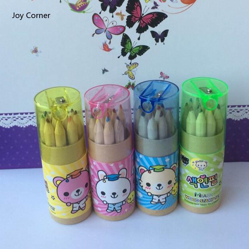 Joy Corner (4 Packs/Lot) Nature Wood Color Pencil Drawing 12 different Colored Pencils Pocket Pack Stationery Kids Use