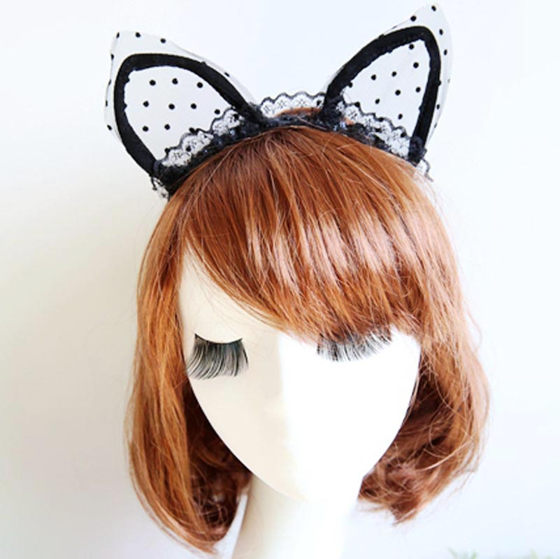 Cosplay Fancy Costume Masquerade Headband Lace Cat Ears Hairband Headwear Hair Band Accessories(China (Mainland))