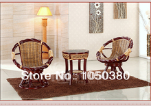 100% Indonesian Onyx Rattan Chair Three-piece Combination Tea Table Casual Set Tempered Glass Pillow Cushion Elegant Romantic(China (Mainland))