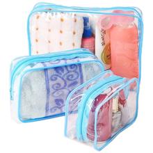 3PCS/Set women transparent waterproof PVC cosmetic vacuum bag organizer for Makeup pouch storage compression bags