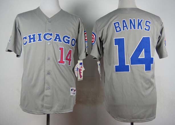 New Chicago Cubs #14 Ernie Banks1990 Grey reverse Baseball Jersey Stitched logo Free shipping(China (Mainland))