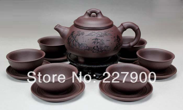Chinese Yixing Handmade Zisha Purple Clay Tea Set Tea Service Yuzhushanshui Zini 320cc 50cc