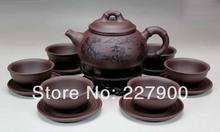 Chinese Yixing Handmade Zisha Purple Clay Tea Set Tea Service-Yuzhushanshui-Zini-320cc/50cc