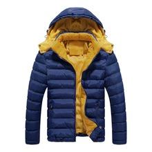 New Brand Winter Jacket Men Warm Cotton Jacket Men Casual Slim Thick Coat Stitching Detachable Cap