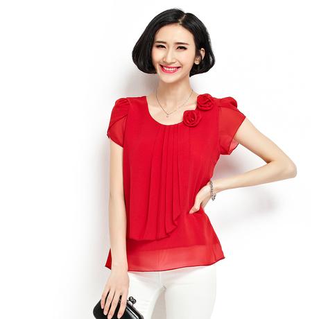 Womens tops fashion 2015 summer style blouses plus size XXXXL vintage short sleeve chiffon blouse shirts women roupas feminina(China (Mainland))