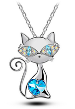 Buy free Valentines Day gift top hot popular AAA rhinestones crystal cat catty Pendant Necklace fashion Jewelry for $1.99 in AliExpress store