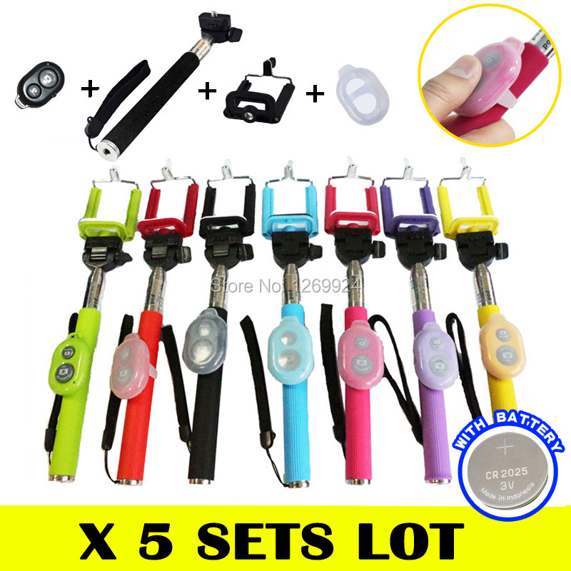 X 5 Color Extendable Selfie Monopod Stick + Phone Self Portrait Clip Holder + Bluetooth Remote Shutter + Silicone Android iOS(China (Mainland))