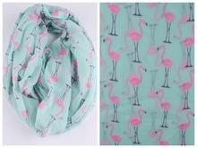 2015 New Fashion Lightweight Soft Women Light Green Flamingo Swan Birds Print Infinity Scarves Foulards Snood For Ladies(China (Mainland))
