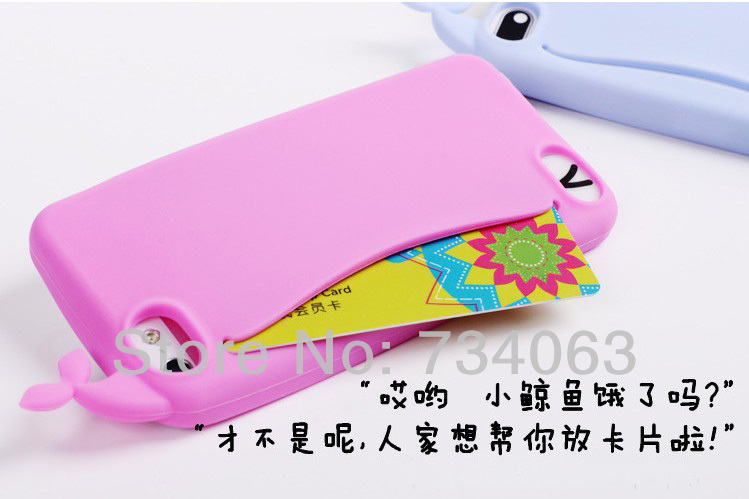 Здесь можно купить  New Arrival Cute Silicone Big Mouth Whale Rubber Card Holder Soft Case Cover for Apple iPhone 4 4s Wholesale 20pcs/lot (OTEE)  Телефоны и Телекоммуникации
