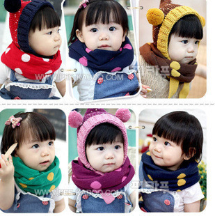 wholesale 30pcs new Korean candy-colored dots cute scarf children warm scarf scarves free shipping(China (Mainland))