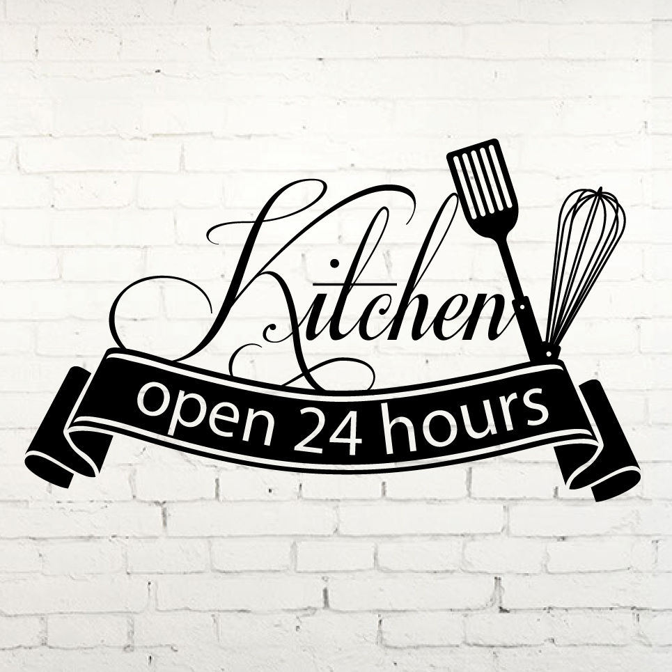 Hot Sale Cuisine Wall Sticker Open 24 Hours Kitchen Wall Art Sticker ...