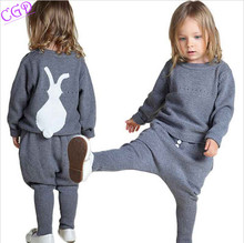 Kids Sweaters 2016 Winter Spring Girls Clothes Baby/Children Fashion Boys Clothing Little Rabbit Embroidered Knitting Wool Suit