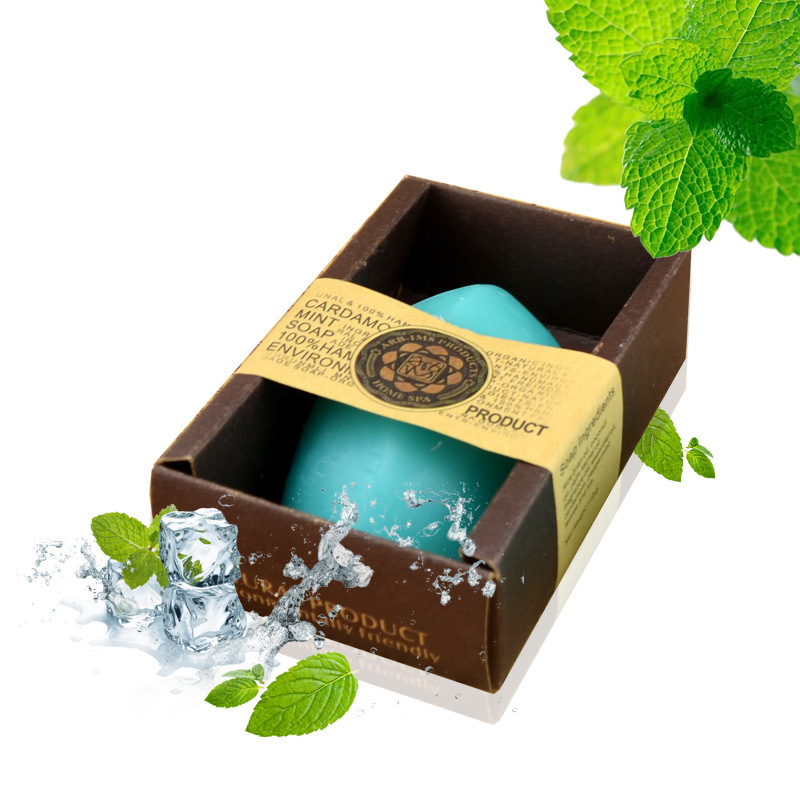 Face Care Thailand Peppermint Oil Handmade Soap Mint Shrinking Pore Antiallergic Making Handmade Soaps Anti-Inflammatory(China (Mainland))