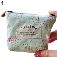 Women s Lady Small Canvas Purse Zip Wallet Coin Key Holder Case Bag Handbag 12VN
