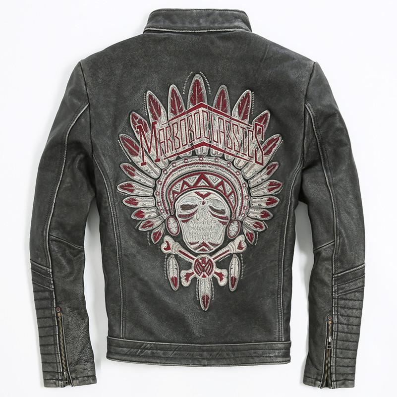 Men's Punk style Embroidery skulls leather motorcycle jacket Vintage black slim fitted genuine leather jacket men biker jacket(China (Mainland))