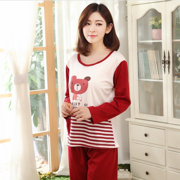 Хлопок девочки пижамы женщины пижама комплект для для дома ночной рубашке комплект длинная - рукав свободного покроя комплект салон