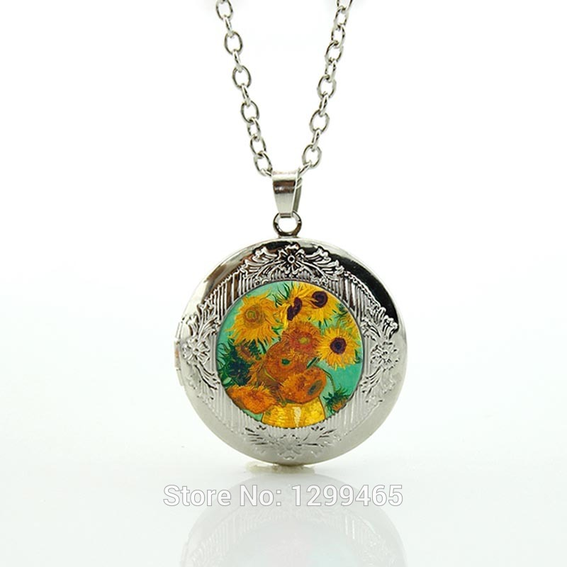 Collier New Fashion Picture Necklace For Vincent Van Gogh Sunflower Locket Pendant Jewelry, Corporate Gifts,funny Gifts N469(China (Mainland))